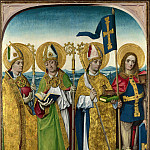 Workshop of the Master of the Life of the Virgin – Saints Augustine, Hubert, Ludger and Gereon, Part 6 National Gallery UK