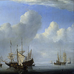 Willem van de Velde – A Dutch Ship coming to Anchor, Part 6 National Gallery UK