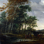 Salomon van Ruysdael – A Landscape with a Carriage and Horsemen at a Pool, Part 6 National Gallery UK