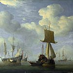 Willem van de Velde – An English Vessel and Dutch Ships Becalmed, Part 6 National Gallery UK