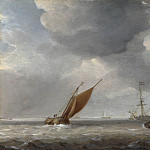 Studio of Willem van de Velde – Small Dutch Vessels in a Breeze, Part 6 National Gallery UK