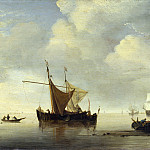 Studio of Willem van de Velde – Calm – Two Dutch Vessels, Part 6 National Gallery UK