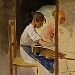Part 6 National Gallery UK - Telemaco Signorini - Sketch for Straw Weavers at Settignano