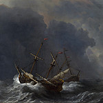 Willem van de Velde – Three Ships in a Gale, Part 6 National Gallery UK