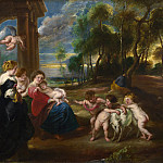the Studio of Peter Paul Rubens – The Holy Family with Saints in a Landscape, Part 6 National Gallery UK