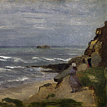 Seascape with Figures on Cliffs, Jean-Baptiste-Camille Corot