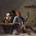 A Man holding a Glass and an Old Woman lighting a Pipe, David II Teniers