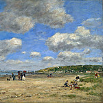 The Beach at Tourgeville les Sablons, Eugene Boudin