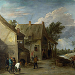 Peasants playing Bowls outside a Village Inn, David II Teniers
