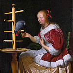 Part 2 National Gallery UK - Frans van Mieris the Elder - A Woman in a Red Jacket feeding a Parrot