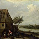 Part 2 National Gallery UK - David Teniers the Younger - A Cottage by a River with a Distant View of a Castle