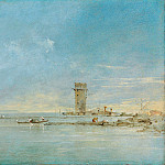 View of the Venetian Lagoon with the Tower of Malghera, Francesco Guardi