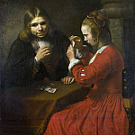 Part 2 National Gallery UK - Follower of Rembrandt - A Young Man and a Girl playing Cards