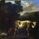 Part 2 National Gallery UK - Dirck van den Bergen - Two Calves, a Sheep and a Dun Horse by a Ruin