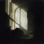 Part 2 National Gallery UK - Follower of Rembrandt - A Man seated reading at a Table in a Lofty Room