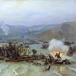 Nikolay (1837-1898) Dmitriev-Orenburgsky - Russian army crossing over the Danube at Zimnitsa, June 15, 1877. 1883.