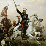 Nikolay (1837-1898) Dmitriev-Orenburgsky - General Nikolai Skobelev on horseback. 1883. Oil on canvas. 47h30