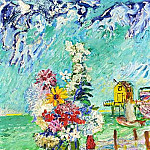 Still life with flowers on the background of the sea, 1948 ES, David Davidovich Burliuk