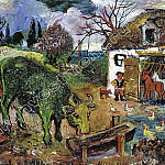 Peasant Woman with a horse and geese. 1961, David Davidovich Burliuk