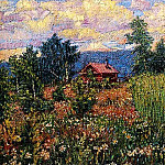 Landscape with a Pink House. 1910s. ГРМ, Давид Давидович Бурлюк
