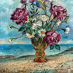 Flowers on the background of the sea. Ser. 1950 . ES, David Davidovich Burliuk