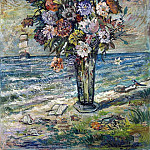 Flowers in a vase on a background of the ocean, David Davidovich Burliuk