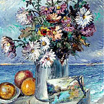 Still life with flowers on the shore. ES, David Davidovich Burliuk