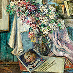 Still Life with Flowers and Ancient Columns. 1951, David Davidovich Burliuk