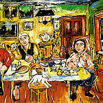 Tea Party with a White Cat. Collection of artists family, USA, David Davidovich Burliuk