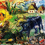 Peasant Woman with a Blue Cow. Private collection, USA, Давид Давидович Бурлюк