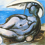 Pablo Picasso (1881-1973) Period of creation: 1931-1942 - 1933 Femme au parasol Вtendue sur la plage