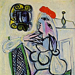 1934 Femme assise au chapeau rouge, Pablo Picasso (1881-1973) Period of creation: 1931-1942