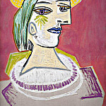 1938 Portrait de femme au chapeau de paille sur fond rose, Pablo Picasso (1881-1973) Period of creation: 1931-1942