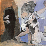 Pablo Picasso (1881-1973) Period of creation: 1931-1942 - 1936 Minotaure et jument morte devant une grotte face Е une fille au voile
