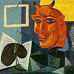 Pablo Picasso (1881-1973) Period of creation: 1931-1942 - 1938 Nature morte Е la bougie, palette et tИte de minotaure rouge
