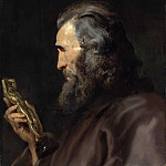 Peter Paul Rubens - A bearded man in profile holding a bronze figure