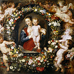 Madonna in Floral Wreath - 1620, Peter Paul Rubens