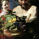 Peter Paul Rubens - Satyr and Maid with Fruit Basket