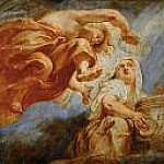 Genius crowning Religion, sketch for the center of the apotheosis of King James I, fresco on the ceiling of Whitehall, London, Peter Paul Rubens