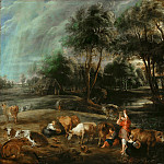Landscape with Cows and Wildfowlers, Peter Paul Rubens