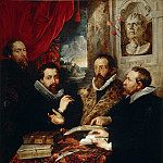 Selfportrait with brother Philipp, Justus Lipsius and another scholar - 1611, Peter Paul Rubens