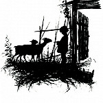 Elizabeth Merkuryevna Boehm (Endaurova) - Silhouette. From the book. Silhouettes of childrens lives. Boy with goats. 1877