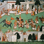 Early Master at the Mandi Court – The Imminent Arrival of the Groom: Folio from a Ramayana Series, Metropolitan Museum: part 2