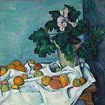 Still Life with Apples and a Pot of Primroses, Paul Cezanne
