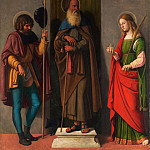 Metropolitan Museum: part 2 - Cima da Conegliano (Italian, Conegliano ca. 1459–1517/18 Venice or Conegliano) - Three Saints: Roch, Anthony Abbot, and Lucy