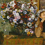A Woman Seated beside a Vase of Flowers (Madame Paul Valpinçon?), Edgar Degas