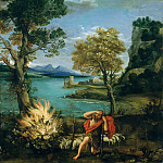 Metropolitan Museum: part 2 - Domenichino (Italian, Bologna 1581–1641 Naples) - Landscape with Moses and the Burning Bush