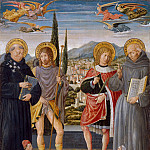 Saints Nicholas of Tolentino, Roch, Sebastian, and Bernardino of Siena, with Kneeling Donors, Benozzo Gozzoli