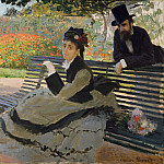 Camille Monet () on a Garden Bench, Claude Oscar Monet
