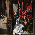 Metropolitan Museum: part 2 - Attributed to Bernard van Orley - The Birth and Naming of Saint John the Baptist; (reverse) Trompe-l'oeil with Painting of The Man of Sorrows
